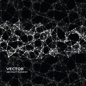 image of cybernetics  - Vector element of white abstract cybernetic particles on black background - JPG