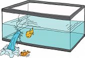 image of goldfish  - Isolated cartoon of worried goldfish watching a fish die - JPG