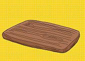 stock photo of hand cut  - Hand drawn cartoon wooden cutting board over yellow - JPG