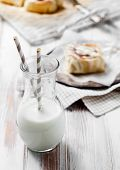 stock photo of icing  - Cinnamon rolls with cream cheese icing - JPG