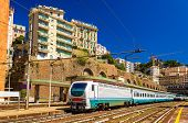 stock photo of passenger train  - Passenger train at Genova Piazza Principe railway station  - JPG