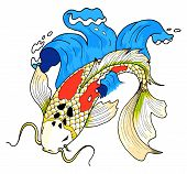 stock photo of koi fish  - Vector colorfull asian style koi carp fish - JPG