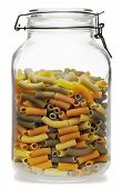 pic of glass noodles  - Raw pasta inside glass jar isolated on a white background - JPG