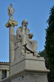 picture of plinth  - A statue on a plinth outside the university of Athens - JPG