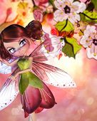 picture of fairy tail  - Colorful illustration of blooming sakura branches and cute fairy - JPG