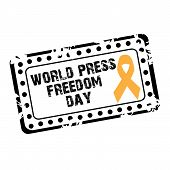 stock photo of freedom speech  - illustration of a grungy stamp for World Press Freedom Day - JPG
