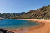picture of atlantic ocean beach  - Atlantic ocean and famouse beach Las Teresitas - JPG