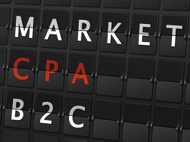 picture of cpa  - market CPA B2C words on airport board background - JPG