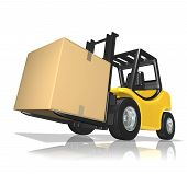 foto of fedex  - 3d rendered yellow forklift with big box over white background - JPG