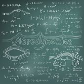 Постер, плакат: Aerodynamics Law Theory And Physics Mathematical Formula Equation Doodle Handwriting Icon In Blackb