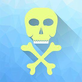 image of skull crossbones  - Skull and Crossbones Icon Isolated on Blue Polygonal Background - JPG
