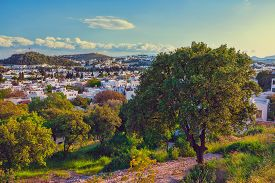 stock photo of gumbet  - Touristic place Bodrum town in summer Turkey - JPG