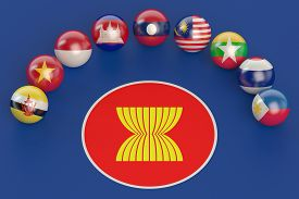 picture of southeast  - Association of Southeast Asian Nations concept on blue background - JPG