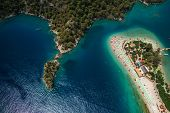 Aerial view of the beach of Oludeniz and Blue Lagoon entrance, Fethiye, Turkey poster