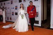 LOS ANGELES - APR 29:  Royal Wedding Impersonators, with Knock-off Gowns by ABS arriving at the 18th Race to Erase MS Event at Century Plaza Hotel on April 29, 2011 in Century City, CA..