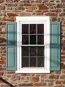 Historic Farmhouse Window With Aqua Trim poster