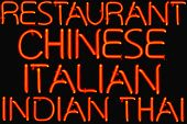 picture of wanton  - Red neon restaurant sign offering multiple cuisines - JPG