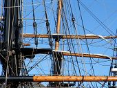 picture of yardarm  - yardarms on old tallship in Cornwall - JPG