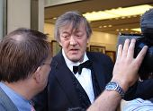 REGENT STREET, LONDON - MAY 11: Stephen Fry the actor and TV presenter being interviewed at a produc