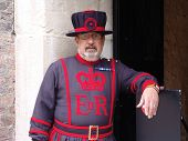 TOWER OF LONDON, LONDON, UK - AUGUST 24: Yeoman of the guard on duty at the Tower of London, UK on t
