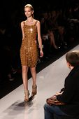 NEW YORK - FEBRUARY 15:  Model walks the runway for Herve Leger by Max Azria  collections Mercedes-B