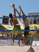 HUNTINGTON BEACH, CA. - MAY 23: AVP Huntington Beach Open south of the pier on the weekend May 23, 2