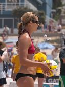 MANHATTAN BEACH, CA. - JULY 18: Chelsea Hayes ready to serve at the AVP Manhattan Beach Open on July 18th 2009