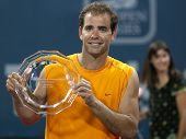 LOS ANGELES, CA. - JULY 27: Pete Sampras receives an award after an exhibition match at the L.A. Ten