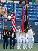 LOS ANGELES, CA. - JULY 27: Flags presented during the national anthem before the Sampras vs. Safin