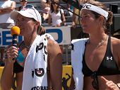 HERMOSA BEACH, CA. - AUGUST 8: Nicole Branagh (R) and Elaine Youngs (L) after winning the womens fin