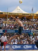 HERMOSA BEACH, CA. - AUGUST 9: Phil Dalhausser (pictured) and Todd Rogers vs. John Hyden and Sean Sc