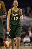 LOS ANGELES, CA. - SEPTEMBER 16: Sue Bird dribbles the ball up courth during the WNBA playoff game o
