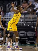 LOS ANGELES, CA. - SEPTEMBER 16: Lisa Leslie playing defense during the WNBA playoff game of the Sparks vs. Storm on September 16, 2009 in Los Angeles.