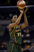 LOS ANGELES, CA. - SEPTEMBER 16: Janell Burse taking a shot during the WNBA playoff game of the Spar
