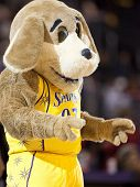 LOS ANGELES, CA. - SEPTEMBER 16: Sparky the team mascott of the Sparks getting the crowd involved du