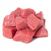 Raw chopped beef meat pieces isolated om white background cut out. poster