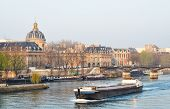 stock photo of matinee  - A barge on the river Seine - JPG