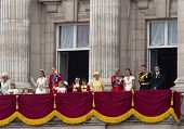 LONDON, UK - APRIL 29: The royal family appears on Buckingham Palace balcony at Prince William and Kate Middleton wedding, April 29, 2011 in London, United Kingdom