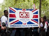 LONDON, UK - APRIL 29: OK! advertisement at Prince William and Kate Middleton wedding, April 29, 2011 in London, United Kingdom