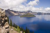 picture of klamath  - View of Crater Lake in southern Oregon with Wizard Island