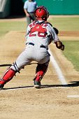 MESA, AZ - NOV 20: Catcher Mark Wagner of the Scottsdale Scorpions waits at home plate in the Arizona Fall League baseball game with the Mesa Solar Sox on November 20, 2008 in Mesa, Arizona.