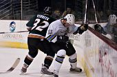 PHOENIX, AZ - DECEMBER 18: Utah Grizzlies wing Tim Verbeek (#32) checks Phoenix Roadrunners defensem