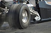 CHANDLER, AZ - OCTOBER 1: A hot rod car dragster before the start of the race in the NHRA Pacific Division drag racing championship on October 1, 2009 in Chandler, Arizona.