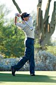SCOTTSDALE, AZ - OCTOBER 22: Brad Faxon hits a drive in the Frys.com Open PGA golf tournament on Oct