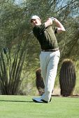 SCOTTSDALE, AZ - OCTOBER 22: Justin Leonard hits a drive in the Frys.com Open PGA golf tournament on