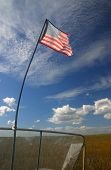 stock photo of airboat  - Torn and tattered US flag on an air boat in the Florida Everglades - JPG