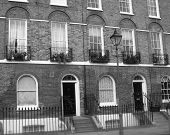 Historic london street in black and white.