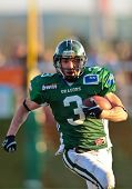 Korneuburg, AUSTRIA - April 18: Austrian Football League: RB Andrej Kliman (#3, Dragons) scores two touchdowns on April 18, 2009 in Korneuburg, Austria.