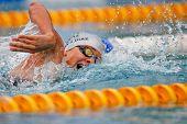St POELTEN, Áustria, 9 de agosto: Eva Chaves-Diaz termina sexta no evento de freestyle de 100m feminino