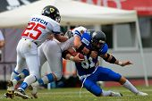 WOLFSBERG, AUSTRIA - AUGUST 22 American Football B-EC: WR Mario Andrioli (#81, Italy) and his team lose 17:27 to the Czech Republic on August 22, 2009 in Wolfsberg, Austria.,